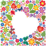 Holiday heart with flowers and butterflies Royalty Free Stock Photos