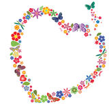 Holiday heart with flowers and butterflies Royalty Free Stock Photography