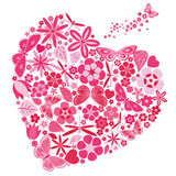 Holiday heart with flowers and butterflies Stock Photo