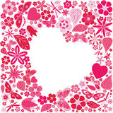 Holiday heart with flowers and butterflies Royalty Free Stock Photo