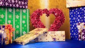 Holiday heart inside gift box stock footage