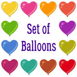 Holiday Heart Shaped Balloons Set. Set of Valentine Holiday Heart Shaped Balloons of Various Colors, Isolated on White Background, Elements for your Design Royalty Free Stock Image