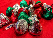 Holiday Hershey Kisses. Holiday wrapped chocolate Hershey Kisses Royalty Free Stock Image