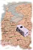 Holiday in Holland. Camping van traveling on a map of Holland Stock Image