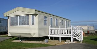Holiday Home with balcony. Static Caravan in East Yorkshire UK stock photography