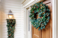 Holiday home exterior decorations Stock Image