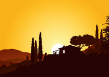 Holiday home in sunset. Holiday home in beautiful mediterranean landscape Royalty Free Stock Image