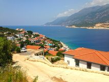 Holiday homes on the peninsula of Kash. Overlooking the bay stock photo