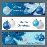 Holiday horizontal banners template with christmas. Balls Royalty Free Stock Photography