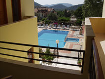 Holiday Hotel. The view from a typical small holiday hotel in Turkey Stock Image