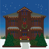 Holiday House. Vector art in Illustrator 8. Victorian house all ready for the holiday season Royalty Free Stock Photos