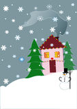 Holiday House. With the Snowman and Christmas tree Stock Photography