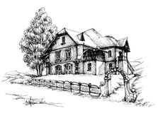 Holiday house sketch. Holiday house drawing outdoors scene Royalty Free Stock Image