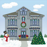 Holiday House Too. Vector art in Illustrator 8. Victorian house all ready for the holiday season Royalty Free Stock Photo