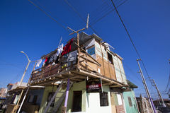 Holiday houses with hanging clothes in Mancora, Peru Royalty Free Stock Photos