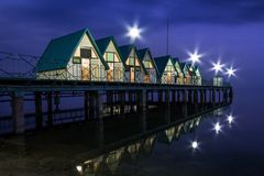 Holiday houses on the pier Royalty Free Stock Photography