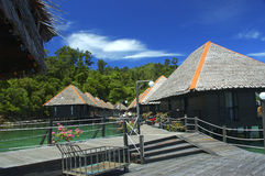 Holiday huts. In borneo stock photography