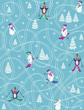 Holiday on ice. Seamless pattern with cartoon figures Stock Photo