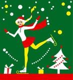Holiday ice-skating  Christmas card Royalty Free Stock Photos