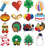 Holiday Icon Set 3. Set of 16 Holiday Icons Royalty Free Stock Images