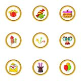 Holiday icon set, cartoon style Royalty Free Stock Photography