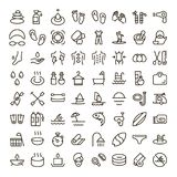 Holiday icon set. Collection of high quality outline beauty pictograms in modern flat style. Black spa symbol for web design and mobile app on white background Royalty Free Stock Image