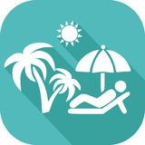 Holiday icon in the Sun. Holiday icon or relaxing in a lounge chair under a parasol and a palm tree royalty free illustration