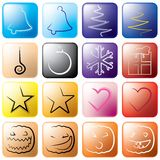 Holiday icons. Highly stylized holiday icons, layered and grouped illustration for easy editing Royalty Free Stock Images