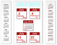 Holiday icons calendars for july 2012. Calendar for 2012 with banners and holiday icons calendars for july 2012. American style. Vector illustration Stock Photos