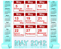 Holiday icons calendars for may 2012. Royalty Free Stock Photos