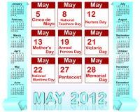 Holiday icons calendars for may 2012. Royalty Free Stock Photos