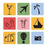 Holiday icons. On a colored background stock illustration