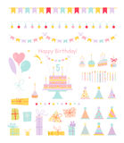 Holiday icons in flat style. Set of birthday party design elements. Colorful balloons, flags, confetti, cupcakes, gifts, candles, bows and decorative ribbons Stock Photography