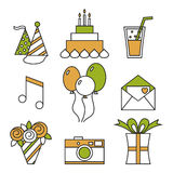 Holiday icons, happy birthday, set. Cake, balloons, flowers, gift, and other festive design elements. Royalty Free Stock Photo