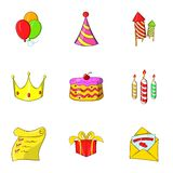 Holiday icons set, cartoon style Stock Photography