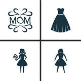 Holiday Icons Set. Collection Of Woman, Female, Mam And Other Elements. Also Includes Symbols Such As Evening, Mam Stock Photography