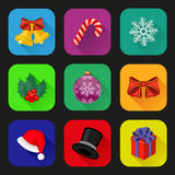 Holiday icons set. Flat design. Vector illustration Royalty Free Stock Photography