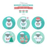 Holiday icons set with sheep in flat. Set of icons with shadow in flat design for web design and mobile app. Christmas and Happy new year icons with cute sheep royalty free illustration