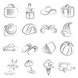 Holiday icons, travel icons. Set of 16 sketched holiday icons royalty free illustration