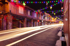 Holiday illumination on the street of Malacca Royalty Free Stock Photo