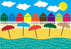 Holiday illustration with beach and small houses Stock Image