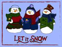 Holiday illustration. Christmas snowmen. New Year card. Winter figure. Royalty Free Stock Photo
