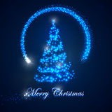 Holiday illustration of  Christmas tree. shiny lights sparkles, and flying magic star. Merry Christmas Stock Photos