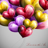 Holiday illustration of flying bunch of balloon hearts Royalty Free Stock Images