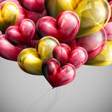 Holiday illustration of flying bunch of festive balloon hearts Royalty Free Stock Photo