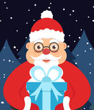 Holiday illustration greeting card for new year or Christmas. Santa Claus in the night in the hands with a gift. Vector Stock Image