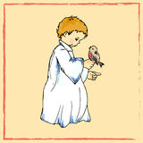Holiday illustration. little angel with a bird. Christmas card. Stock Photography