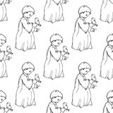 Holiday illustration. little angel with a bird. Christmas card. Royalty Free Stock Photos