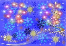 Holiday illustration postcard for New year on a blue background of snowflakes, stars, highlights, text background. Festive illustration postcard for New year on vector illustration