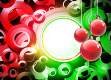 Holiday illustration with red Christmas balls. Royalty Free Stock Image